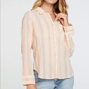 CHASER BUTTON DOWN PINK Gauze STRIPE top 2X